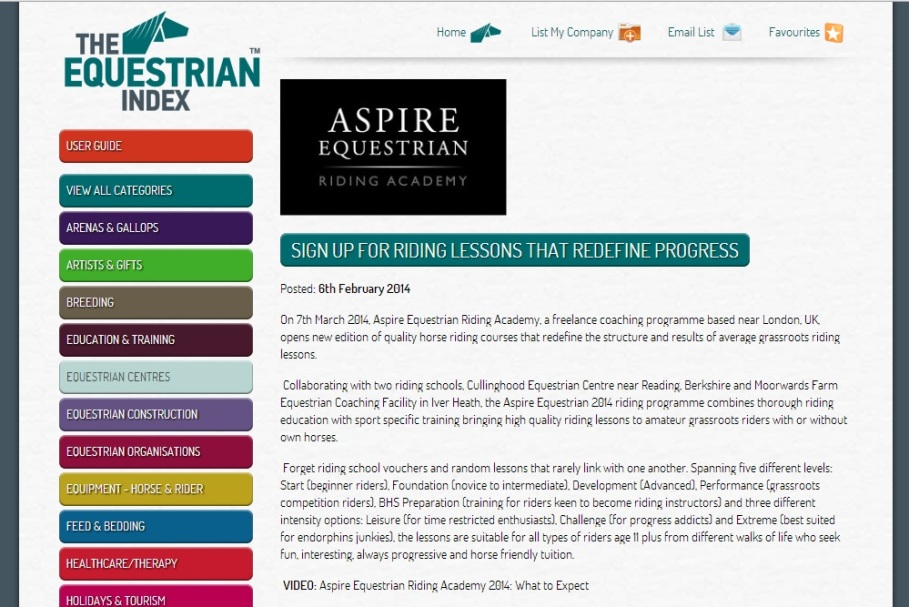 AspireNews Equestrian Index 6th Feb